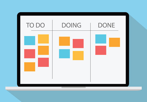 "Jira QA Workflow (icon of a computer screen with columns titled ""To Do,"" ""Doing,"" and ""Done"" with colorful squares in each)"