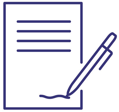 QA Contract (contract icon with pen signing at bottom)