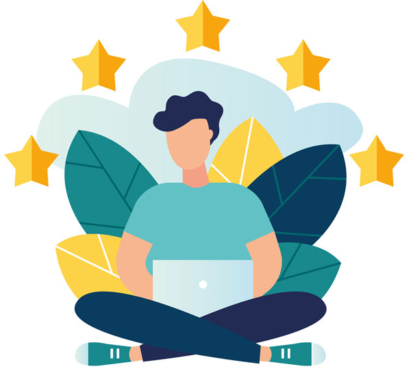 Improve App Reviews (cartoon showing five gold stars above a man with a green t-shirt, blue jeans, and green converse typing on a laptop)