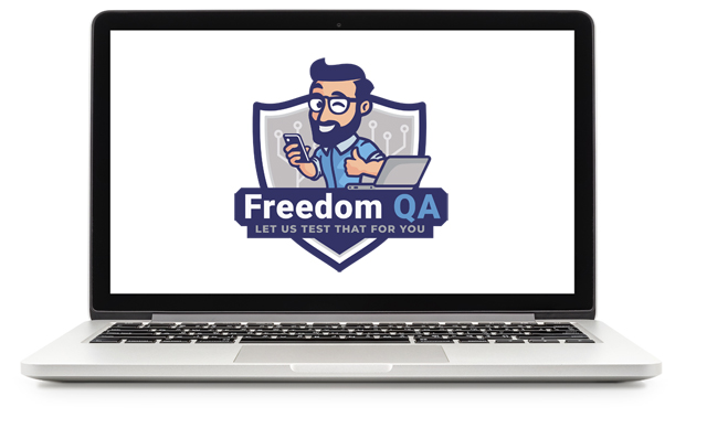 "Remote QA Jobs (laptop open to show the Freedom QA logo on the screen, which has a cartoon guy with dark hair, a beard, glasses, and a blue shirt. He's giving a thumbs up sign with one hand, and holding a phone with the other. In front of him, is a lapop. The cartoon is in a dark blue shield with a banner saying ""Freedom QA - let us test that for you"")"